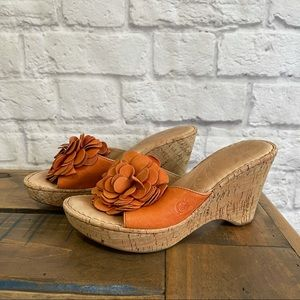 BORN Wedges Shoes with Orange Flower Floral Detail